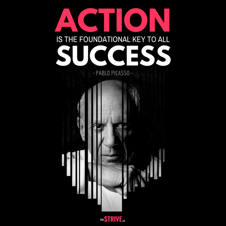 Pablo Picasso quote on action and success
